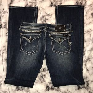 Miss Me Bootcut Jeans, Size 29, Distressed Front